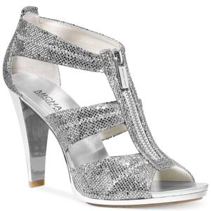 Silver Michael Kors Zipper Sandal
